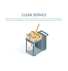 cleaning trolley with mop and household supplies vector image