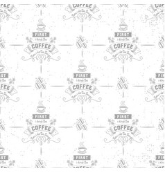 Coffee seamless pattern grains coffee cup of vector
