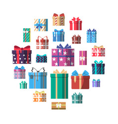 Colorful gift box icon set in flat design vector