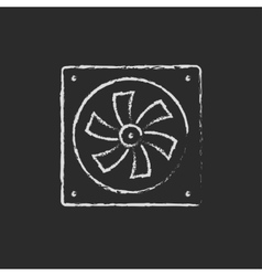 Computer cooler drawn in chalk vector image