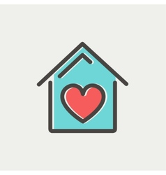 Contoured house thin line icon vector