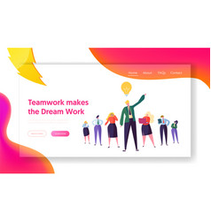 Creative business group teamwork landing page vector