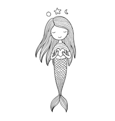 Cute little mermaid with heart siren sea theme vector