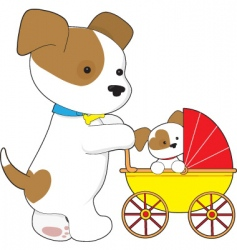 Cute puppy baby carriage vector