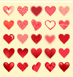 differents red heart icons isolated love vector image