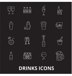 drinks editable line icons set on black vector image