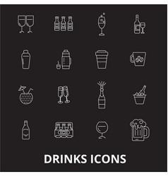 drinks editable line icons set on black vector image