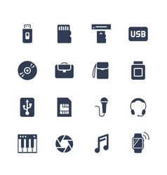 Electronics and gadgets icon set flash drive vector