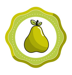 Emblem sticker delicious pear fruit icon vector