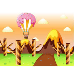 fantacy land with candy balloon and waffle trees vector image