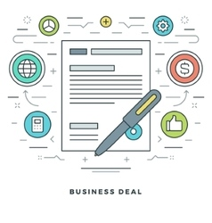 Flat line Business Deal Concept vector