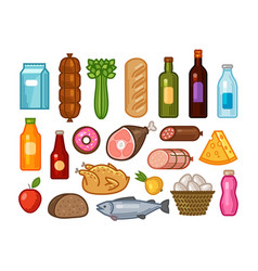 food and drinks icons set grocery shopping vector image