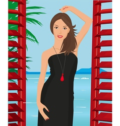girl with black dress vector image