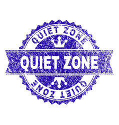 Grunge textured quiet zone stamp seal with ribbon vector