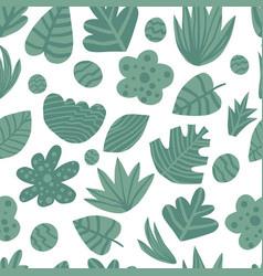 hand draw tropical green leaves seamless pattern vector image