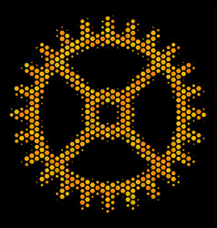 hexagon halftone clock gear icon vector image