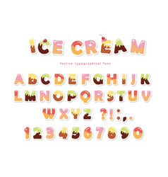 Ice cream font cute wafer letters and numbers can vector