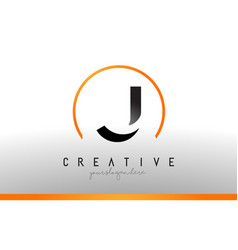 J letter logo design with black orange color cool vector