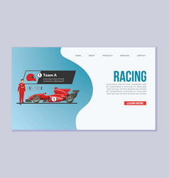 Karting racing speed cars web template vector
