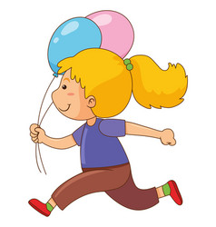Little girl with two balloons vector