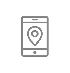 location pin with phone line icon mobile vector image