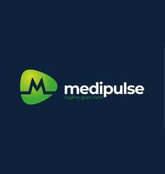 M letter alphabet pulse logo medical logo design vector