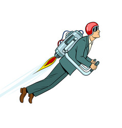 man flying jet pack pop art style vector image