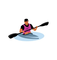 Man in canoe sign vector image