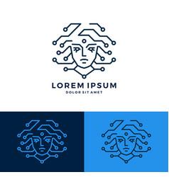 medusa girl tech logo download line art outline vector image