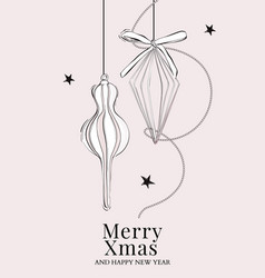 merry christmas hand drawn card with new year vector image