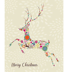 Merry Vintage christmas elements jumping reindeer vector image