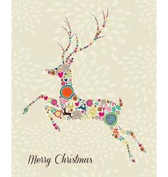 Merry Vintage christmas elements jumping reindeer vector