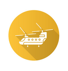 military helicopter flat design long shadow glyph vector image