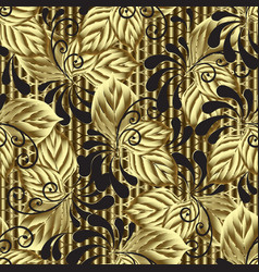 modern gold 3d leafy seamless pattern textured vector image