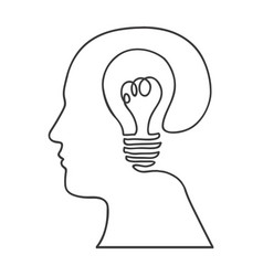 Monochrome silhouette of human head with bulb vector