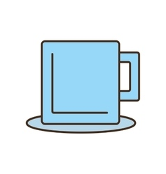 Mug beverage hot capuccino tea plate vector