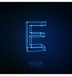 Neon 3D letter E vector image