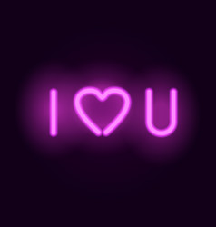 neon letters i love you realistic vector image