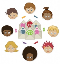 Networking kids with email vector