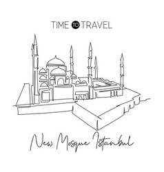 One continuous line drawing new mosque landmark vector