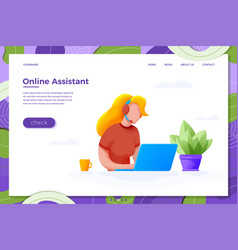 Online assistant help girl vector