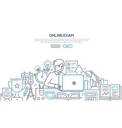 Online exam - modern line design style web banner vector