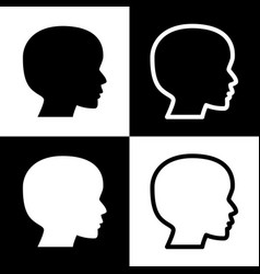 people head sign black and white icons vector image