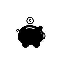 Piggy bank in a flat style piggy bank with coin vector