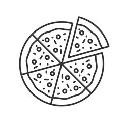 Pizza with one slice separated linear icon vector