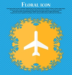 Plane icon Floral flat design on a blue abstract vector image