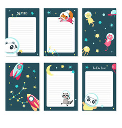 planner template with cute space animals vector image