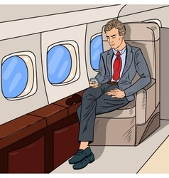 Pop Art Businessman Flying Airplane vector