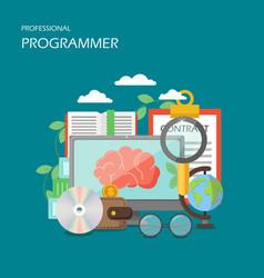 professional programmer flat style design vector image