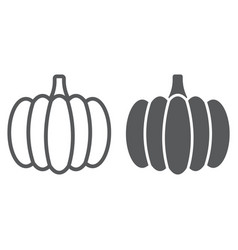 Pumpkin line and glyph icon vegetable and food vector